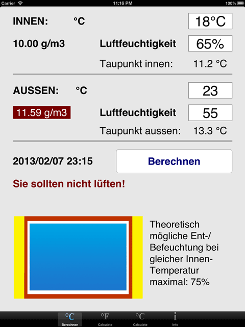 iPad deutsch Celsius